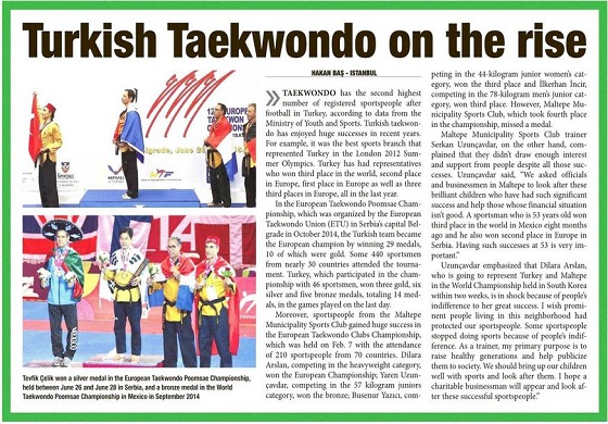 "Turkish Taekvvondo on the rise ""Daily Sabah Gazetesi"""